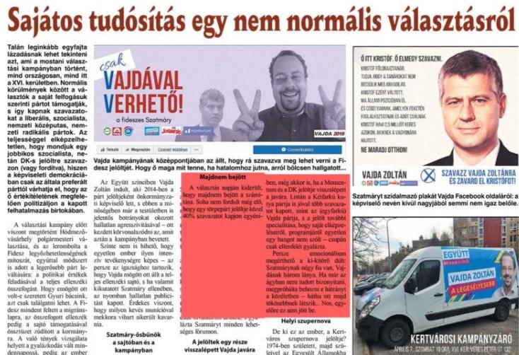 A kerületi lapban azzal támadják az Együtt politikusát, hogy nem tudott teljesíteni az ágyban, mert lányai születtek