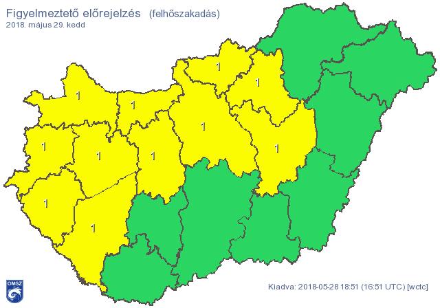 Budapesten és 11 megyében várható felhőszakadás, mutatjuk, hol érdemes felkészülni