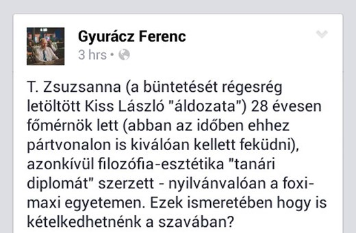 Prima-díjas irodalmár kommunistázta Kiss Lászlóék áldozatát