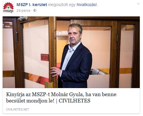 Molnár Gyula lemondását követeli az I. kerületi MSZP?