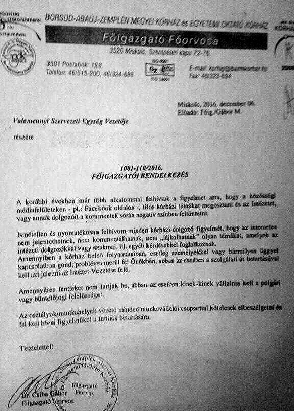 Megtiltotta a lájkolást dolgozóinak a miskolci kórház igazgatója