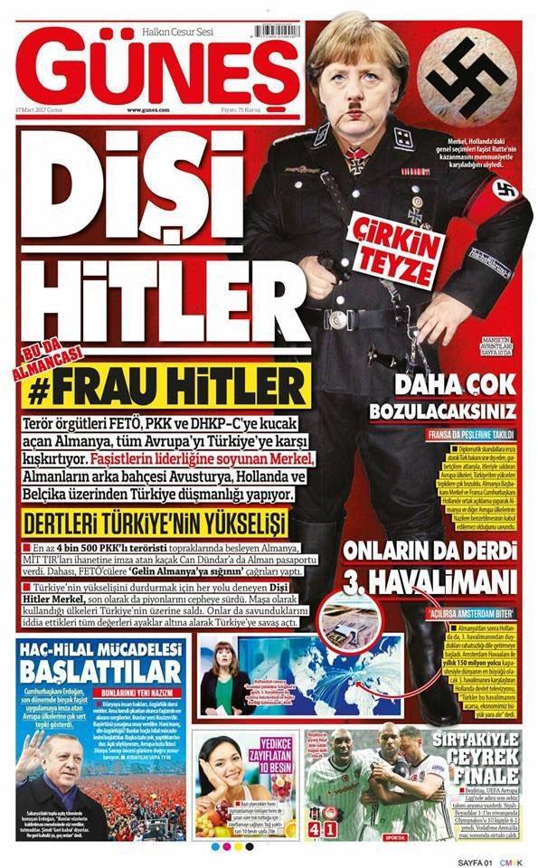 Hitlerként ábrázolta Merkelt egy török lap