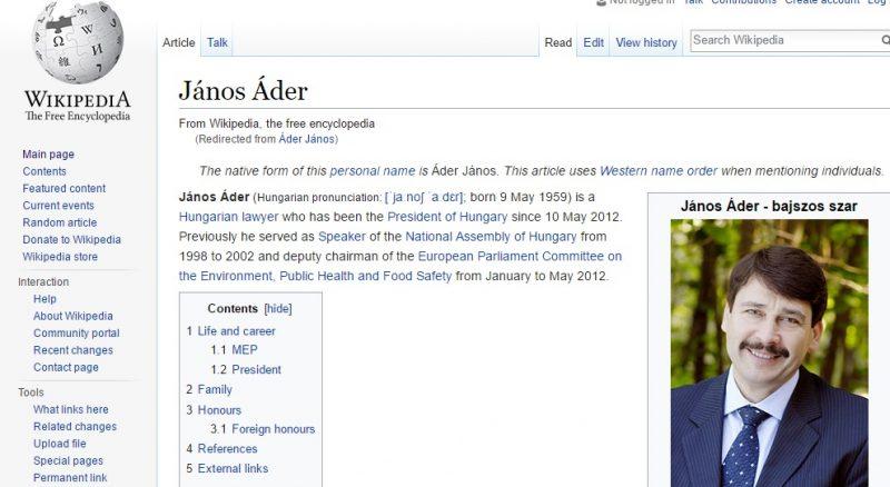Trágár szóval hekkelték meg Áder János Wikipédia szócikkét