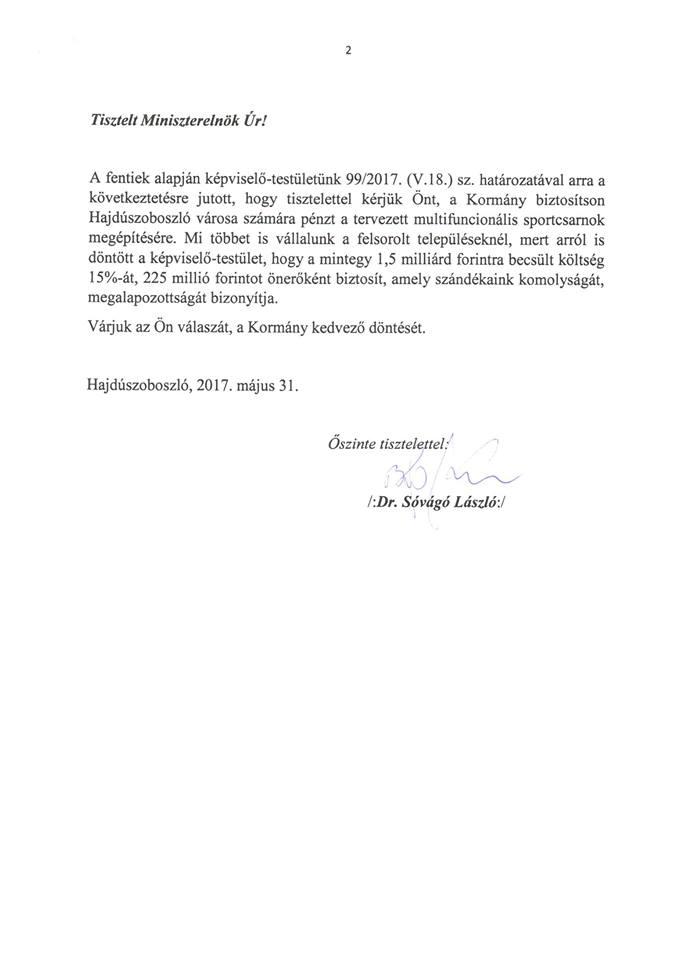 Facebookon kér Orbán Viktortól sportcsarnokot Hajdúszoboszló polgármestere