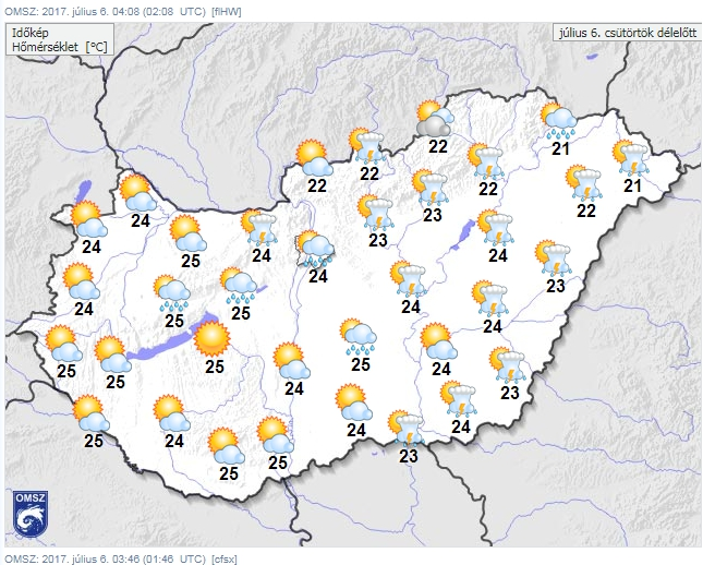 Délen hőség, északon inkább esős idő várható