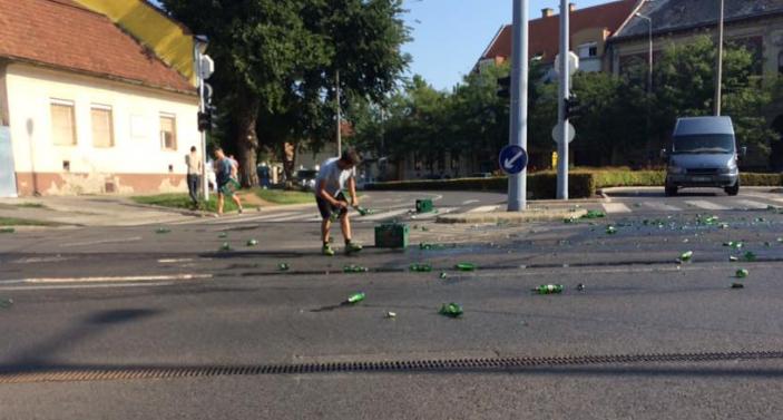 Elárasztotta a sör Debrecen belvárosát – fotók