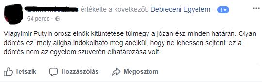 Durván lepontozták Facebookon a Debreceni Egyetemet Putyin miatt