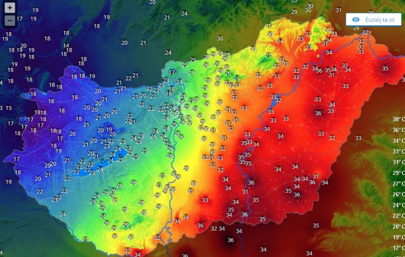 20 fokos hőmérsékletkülönbség van az ország két vége között
