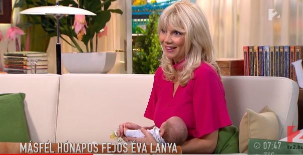 Kitette férje a 8 hónapos babájukkal Fejős Éva írónőt