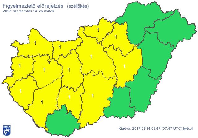 Figyelmeztetést adott ki a meteorológia: 13 megyében durvul a helyzet