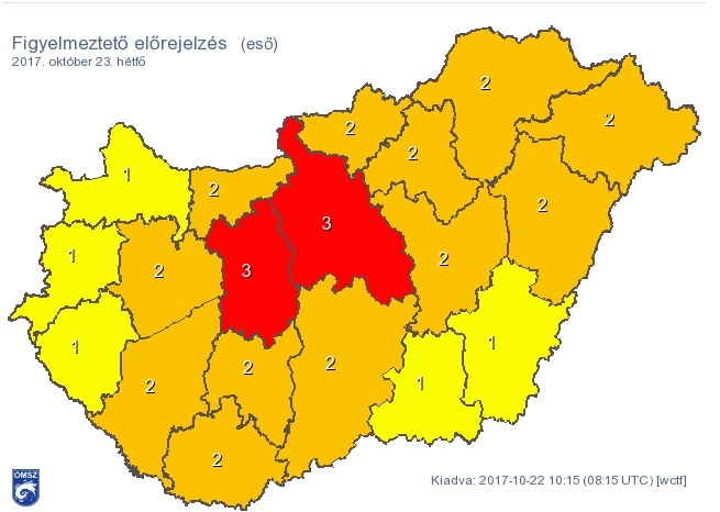 Vörös riasztást adtak ki Budapestre és két megyére a rengeteg eső miatt