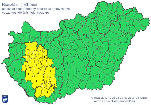 Erős szél miatt kiadták a riasztást a Dunántúl középső járásaira, itt az özönvíz