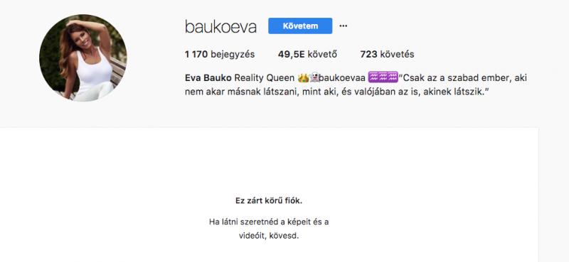 Döbbenet: Baukó Éva is eltünt az Instagramról!