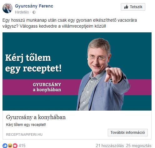 Gyurcsány Ferenc Facebookon hirdeti főzőtudományát
