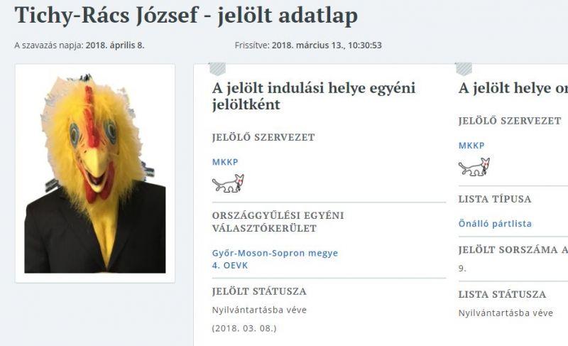 Az Euronews is bemutatta a Magyar Kétfarkú Kutya Párt csirkefejű soproni jelöltjét, aki egy új karosszéket akar magának