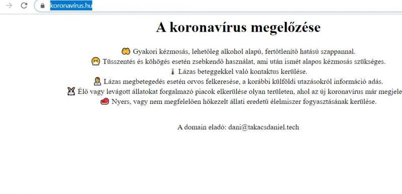 Index: Eladó a koronavirus.hu, de nem ezen az oldalon tájékoztat majd a kormány