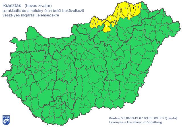Kiadták a riasztást: rövidesen heves zivatarok törnek ki északon