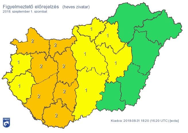 Özönvíz jön szombaton, narancssárga figyelmeztetés van érvényben több megyére