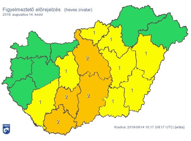 Narancssárga figyelmeztetést adtak ki Budapestre és több megyére a heves zivatarok miatt