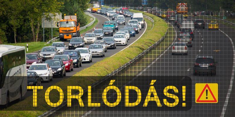 Útinform: 4 kilométeres a torlódás Bicskénél az M1-es autópályán