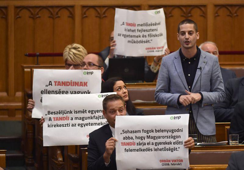 LMP: a Fidesz 2008-ban még kiállt a tandíj ellen