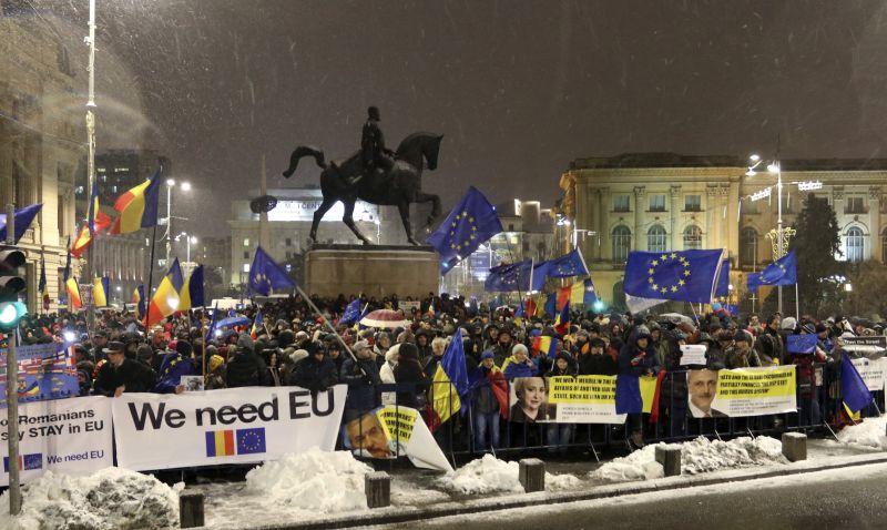 Tüntetéssel indult Románia soros uniós elnöksége