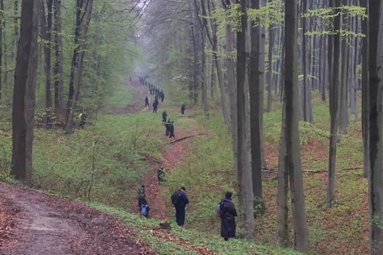 Egy csomó rendőr bóklászott az erdőben