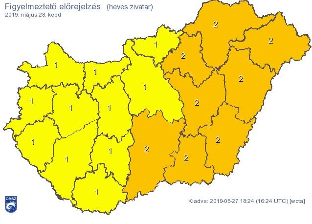 Heves zivatarok csapnak le az országra – narancssárga riasztást adtak ki