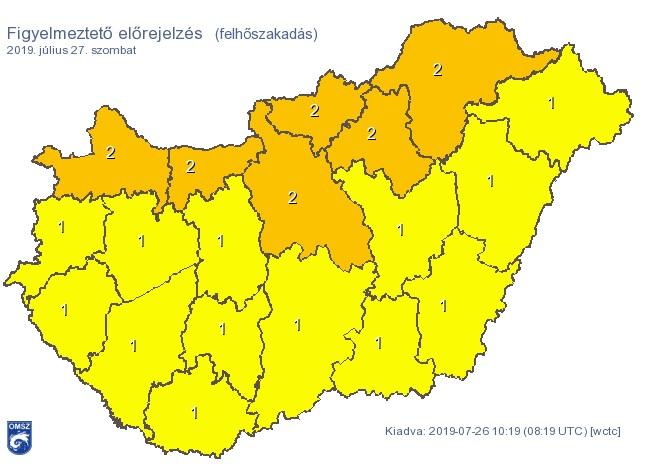 Jéggel, felhőszakadással érkeznek a zivatarok, narancssárga figyelmeztetést adtak ki több megyére
