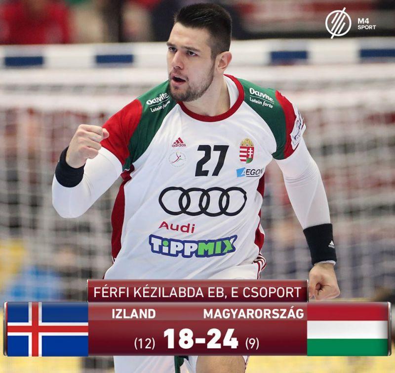 Izland legyőzésével középdöntős a magyar válogatott a kézilabda Eb-n