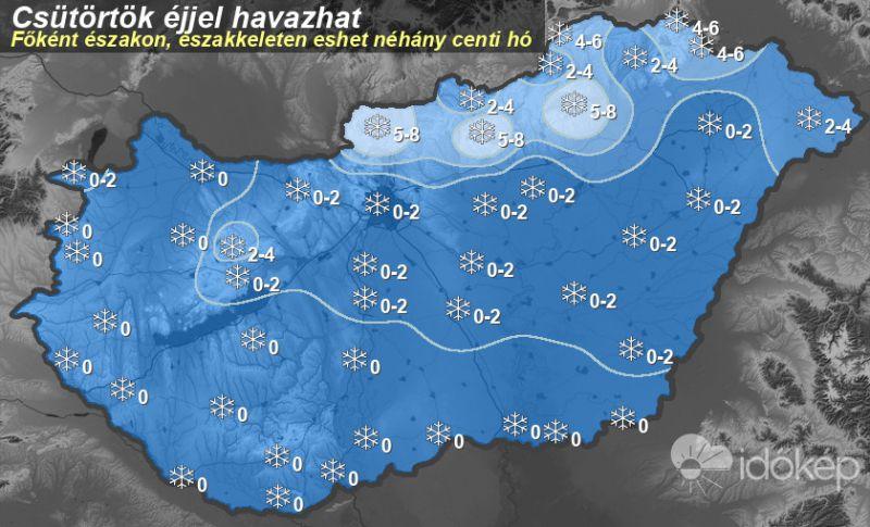 Többfelé havazott, térképen ábrázolták, mennyi hó eshet a továbbiakban