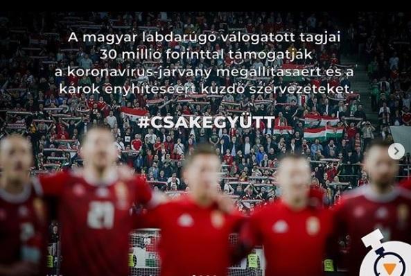 30 millió forintot dobott össze a magyar labdarúgó-válogatott a járvány elleni küzdelemre