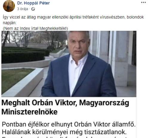 Orbán halálával viccelődő képet osztogat egy fideszes politikus