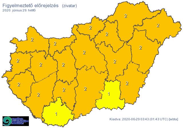 Két megye kivételével az egész országra kiadták a narancssárga figyelmeztetést: durva viharokkal jön a front