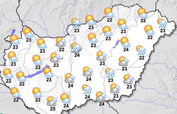 Esős, napsütéses szombat lesz