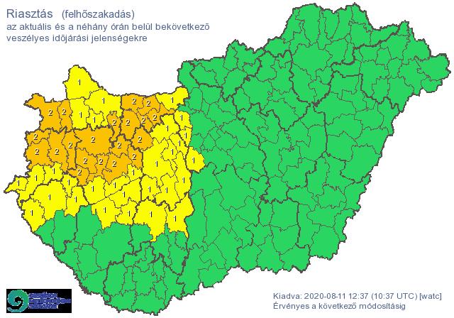 Emelték a riasztási szintet a Dunántúlon a várható felhőszakadás miatt