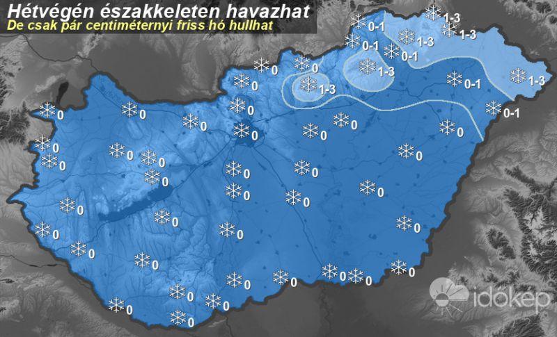 Ennyi hó eshet a hétvégén – térkép