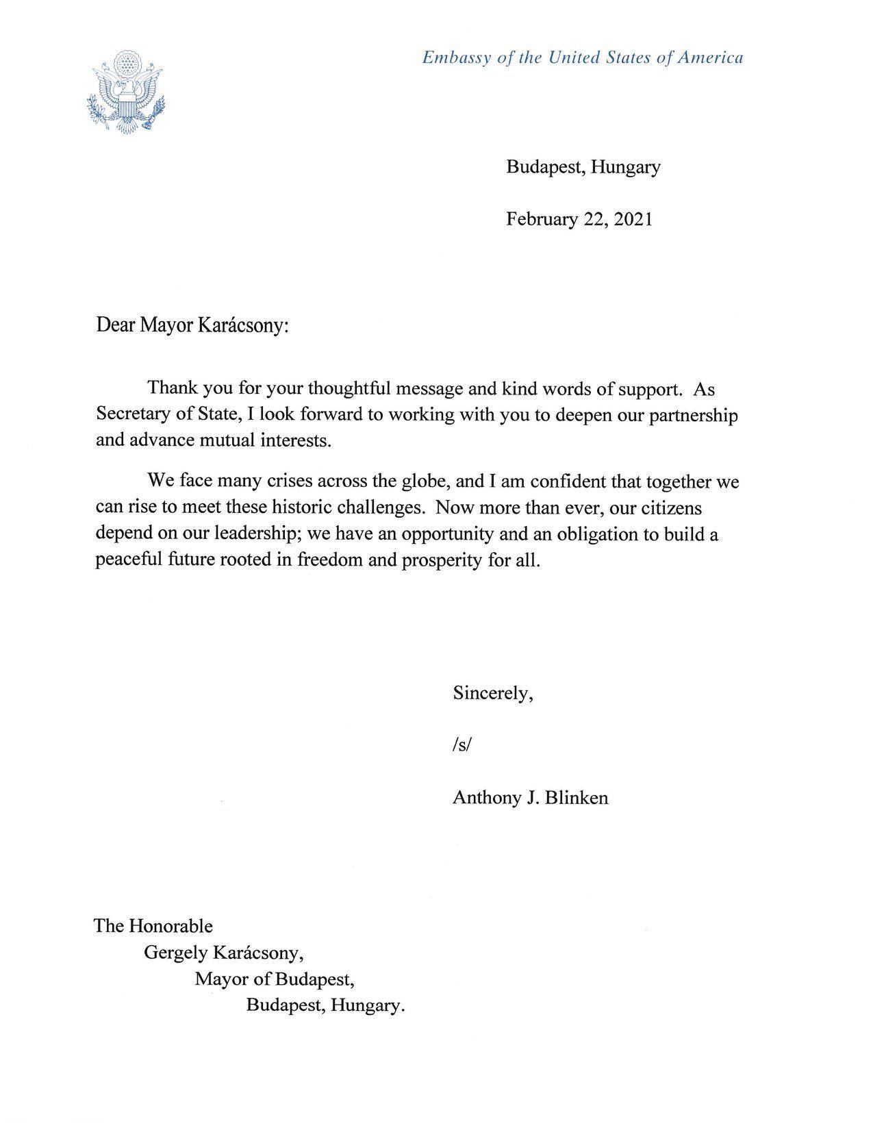 A Fehér Házból kapott levelet Karácsony Gergely