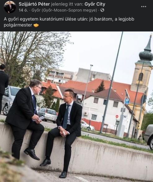 Se maszk, se távolságtartás – így tárgyalt Szijjártó Péter és a győri fideszes polgármester – fotó