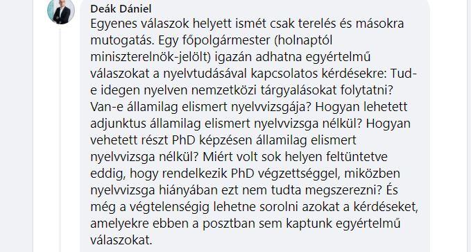 Deák Dániel kemény kérdésekkel ment neki Karácsonynak a nyelvtudásával kapcsolatban – A főpolgármester mai posztja alatt kitört a kommentháború