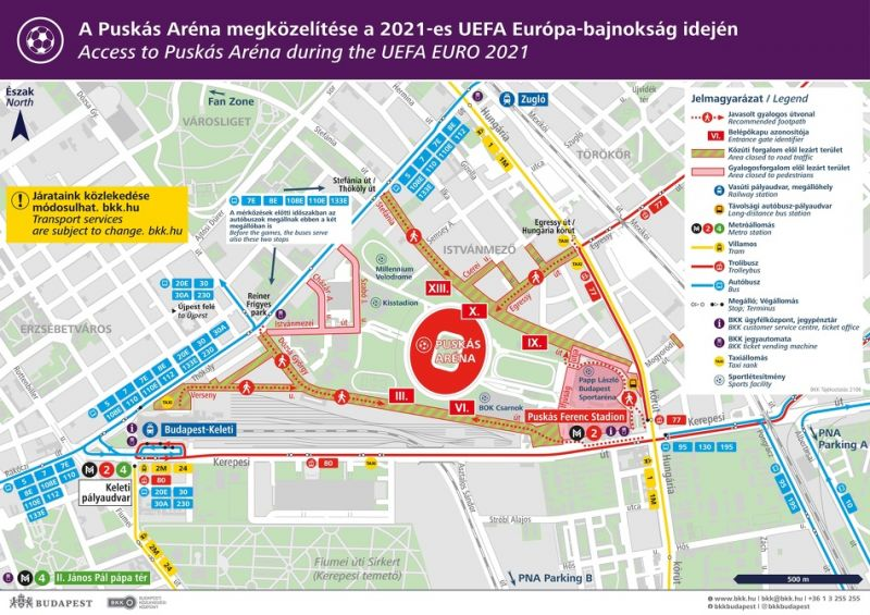 Forgalomkorlátozás, sűrített járatok – ezek lesznek a változások a Puskás Aréna környékén a mai magyar-portugál meccs előtt