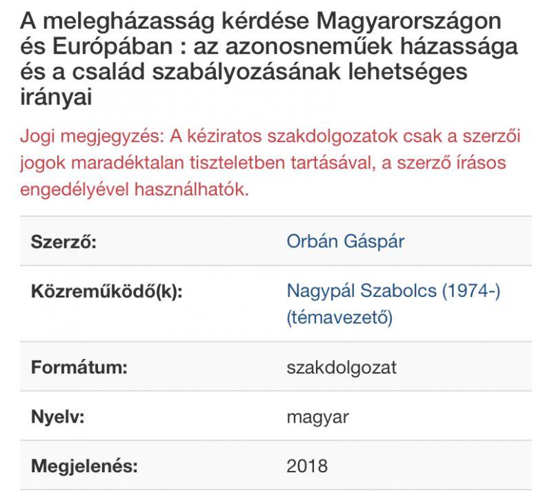 Orbán fia a magyarországi és európai melegházasság kérdéséről írta a szakdolgozatát – fotó