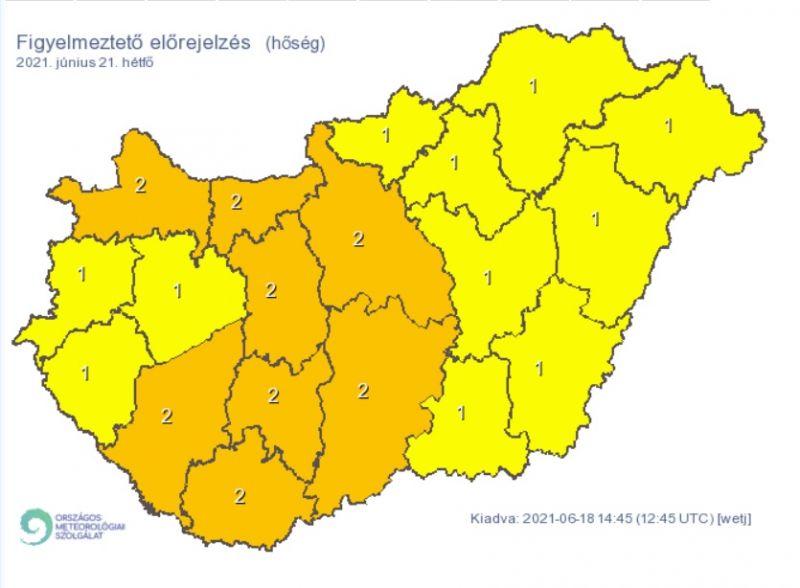 Bekeményít a hőség, jégeső és vihar is fenyeget: narancssárga veszélyjelzés lép életbe több megyében