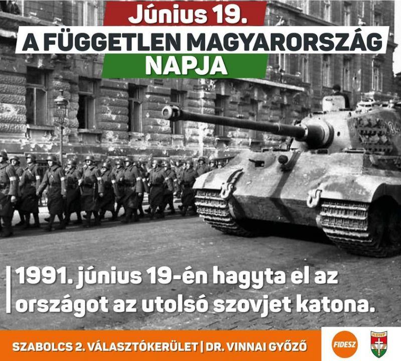 A  nap végtelenül ostoba politikusa: náci tankkal emlékezett meg az szovjet csapatok távozásáról a fideszes képviselő