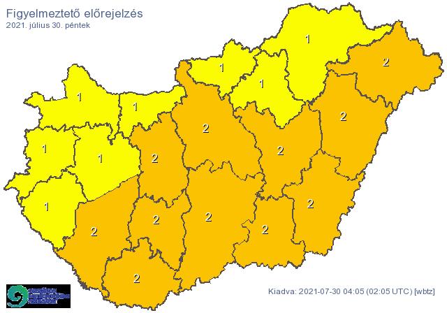 Narancsszínben fő az ország kétharmada, szombaton befigyel a vörös veszedelem délről