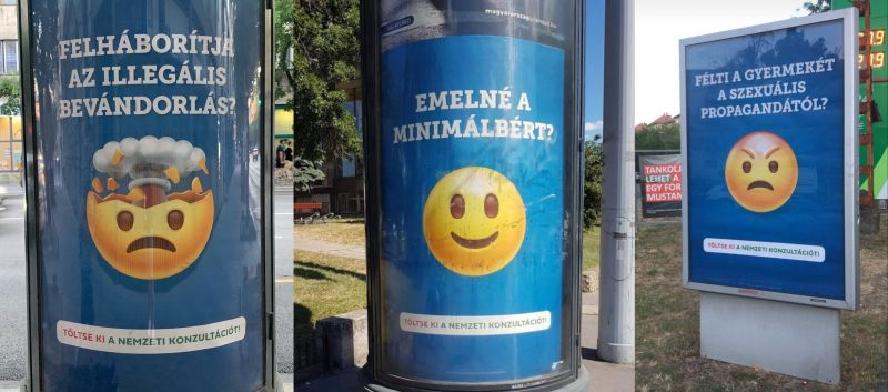 Óvatosan a kormány emojis plakátjaival! A rendőrség ujjlenyomatot vett, miután valaki megrongált egyet – fotó