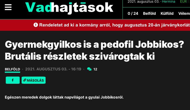 """""""Gyermekgyilkos is a pedofil Jobbikos"""" – állítja Fidesz közeli lap mely brutális részletekkel sokkol"""