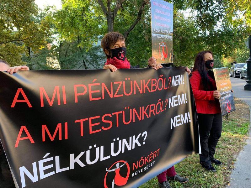 Aktivisták tiltakoztak a komány által összehívott Demográfiai Csúcs helyszínén a Várkert Bazárban