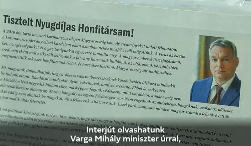 Orbán Viktor üzenetével érkezik ajándék a nyugdíjasok postaládájába